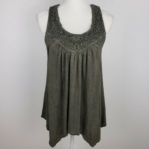 Knox Rose Crocheted Green Tank Top
